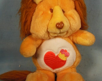"Vintage-1984-Plush Care Bear Cousin- Brave Heart Lion--Kenner-13"" Tall-Very Clean"