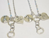 2 Partners In Crime Handcuff Pinky Promise Heart Best Friend Necklaces BFF SISTERS COUPLES
