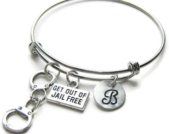 Partners In Crime Get Out Of Jail Free Hand Stamped Initial Bangle Bracelets,Best Friend Bracelets,Sister Bracelets,BFF Bracelets,Monogram
