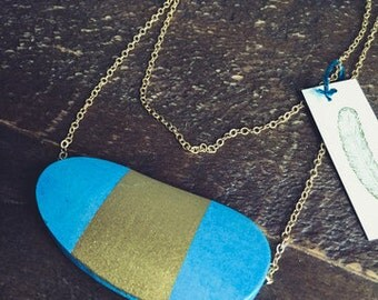 Hand-painted wooden necklace