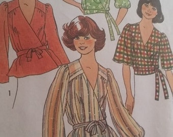 Vintage Simplicity 7351 Sewing Pattern  Size Small  (8-10) Front-Wrap Tops