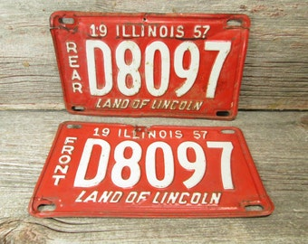 Illinois License Plate 1957 Set or Single Red and White D8097