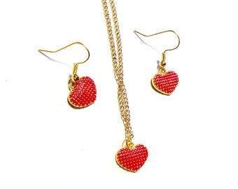 Red love heart earrings and matching necklace gold plated costume jewellery jewelry rockabilly teen loving romance