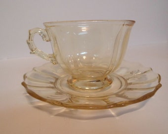 Mint Fostoria Baroque Topaz Yellow Cup and Saucer