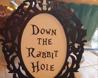 """Alice in Wonderland """"Down the Rabbit Hole""""1/2-1"""" Die Cut"""