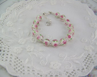 Lampwork Glass Rose Bracelet, Rose Bead Bracelet, Rose Glass Bead Bracelet, Sterling Silver Rose Bracelet, Rose Bracelet, Lampwork Rose
