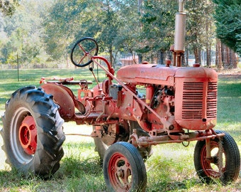 Red Tractor Photograph Farm Photography Tractor Art Rustic 8x10 Country Decor