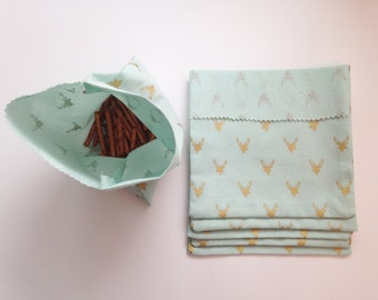 Re-Useable Snack/Sandwich Bags/Set of 6/Gold Antler