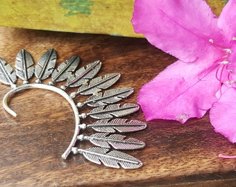 Feather Ear Cuff Tribal Native Silver Boho Festival Earring Jewelry