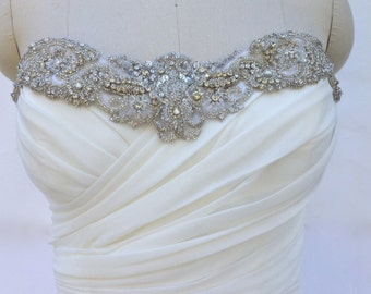 Couture Vintage Style Crystal Beaded Bridal Appliqué Trim For Wedding Gowns And Bridal Sashes