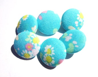 Turquoise Liberty Print Cotton Covered Button - 1.5cm wide - Liberty Cotton - Fabric Covered Buttons - Blue Floral Buttons