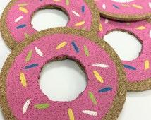 Donut Painted Round Cork Coasters, Cork Coasters, Cork Drink Coasters, Circle Coasters, Painted Coasters, Drink Coaster