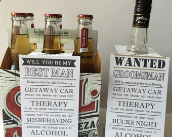"Personalised ""Will you be my Groomsman? Best Man?"", Wanted Best Man? Groomsman?"", Bottle tags , Wedding, Silver, Gold"
