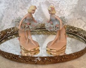 Pair 1940s porcelain lace ballerina figurines Dresden style made by Cordelia China Co Ohio USA romantic cottage chic collectible home decor