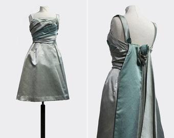 50s Blue Willow Dress •  1950s prom dress