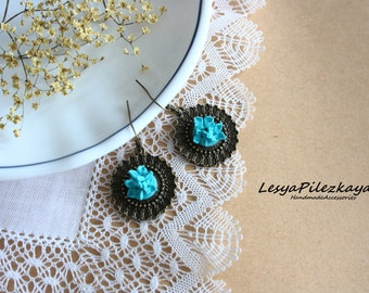 Tourqiouse earrings with polymerclay flowers - simple ear wires