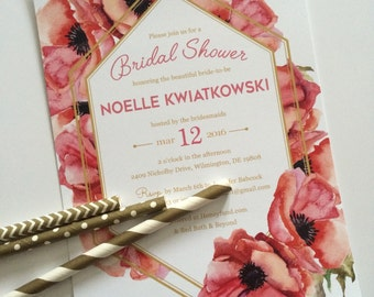 Anemone Poppy Bridal Shower Invitation - Digital File