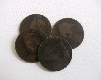 4 Victorian bronze pennies