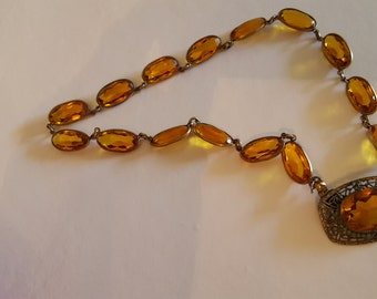 Antique Czech Amber Glass Necklace with Seed Pearls Emerald cuts-Rare