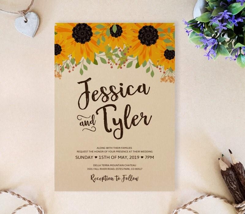 Sunflower Wedding Invitation Set: Invite RSVP Postcard
