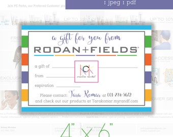 "Rodan and Fields Gift Certificates - Promotion - Network Marketing materials Size 4"" X 6"" - Customizable or blank - Stripes - Graphic Design"