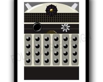 Minimalist Dalek, Fan Art, print, poster,