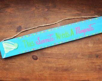 Margarita Sign With Quote, Tropical decor, hand painted wooden sign, kitchen sign with saying