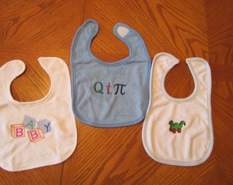 Embroidered Baby Bibs-Set of 3