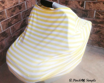 Yellow & White Striped Carseat Cover, Nursing Cover, Swaddle Blanket