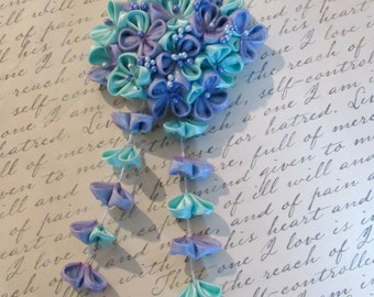 Purple and Blue Hydrangea Kanzashi Flower Hair Comb