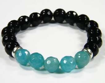 Agate faceted bracelet with Silver Accent Beads - Handcrafted in the USA