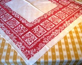 Mid Century Floral Tablecloth - Red White Table Topper - Scarf -  Square -  Cotton -  Vintage 1950's