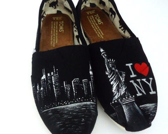 I Love NY Toms Shoes. Painted NYC Toms. New York Toms