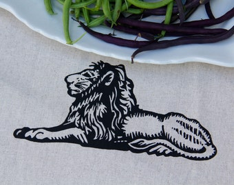 LION Tea Towel Screen printed design Organic Unbleached Cotton Tea towel Modern Towels Black Lion design Bar Towels African design