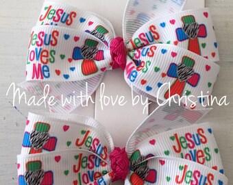 Jesus Loves Me Bow Set