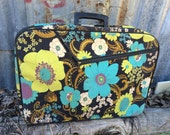 Vintage Vinyl Cloth Floral Luggage Made in Japan