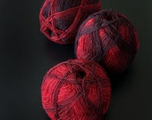 gradient WOOL  yarn  for knitting, crochet   -  red-black gradient wool - 1 ball