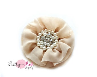 Taupe Chiffon Pearl Rhinestone Flowers Choose Quantity.....prettyinpinksupply...DIY Headband Supplies