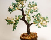 Green Aventurine and Rose Quartz Tree 8 1/2 inches tall! Attracts Money, Good Luck and Love! LAST ONE