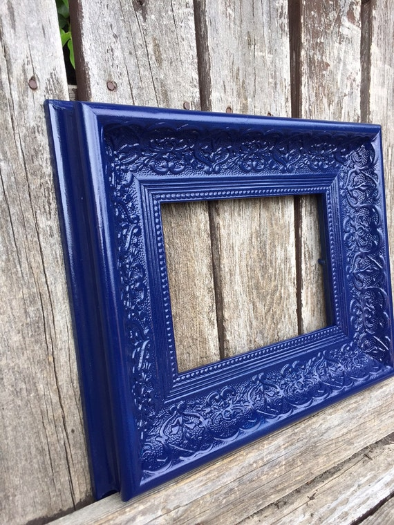 navy picture frame 8x10 11x14 ornate navy blue by thepaintedldy. Black Bedroom Furniture Sets. Home Design Ideas