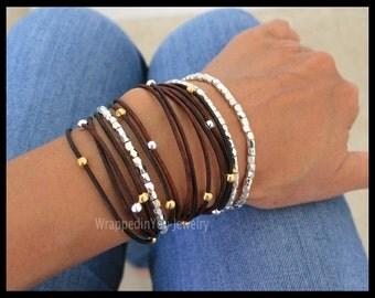 Boho LEATHER Wrap Bracelet - Adjustable CASCADING Silver Gold Beaded Leather TRIPLE Wrap Bangle Bracelet Extension Chain - Size / Colors 786
