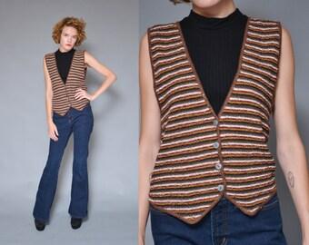 80s Striped Sweater Vest Small Brown Black Mustard Pinstriped Southwest V Neck Hippie Boho Button Up Knit Vest