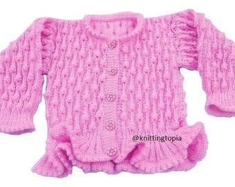 Girls sparkly pink hand knitted cardigan 22 inch chest bobble patterns with frilled hemline - knitted children's clothes - girls clothing
