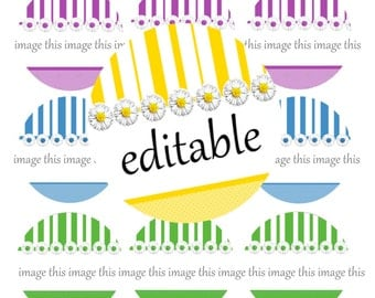 Daisies and Stripes Printable One Inch Circles