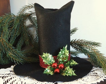 Snowman tree topper Christmas tree top hat, snowman tophat tabletop Christmas decor,