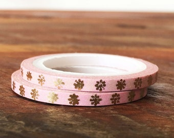 Washi Tape Thin / Skinny Gold Foil Flowers and Pink 3mm, Metallic Gold Floral, Gold Shimmer, Gift Wrap, Packaging Supplies, Craft supplies