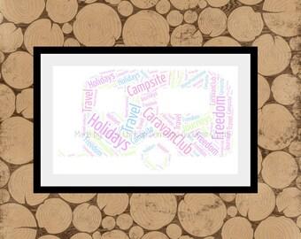 Caravan Word Art, Personalised Caravan Print,Caravan Word Cloud,Mobile Home Print,Caravan Word Collage.Caravan Themed Gift.A4 Caravan Print.