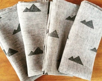 Hand-printed chambray dinner napkins in grey