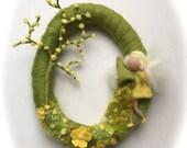Spring Wreath.Spring Fairy . Needle Felted. Waldorf.Wool