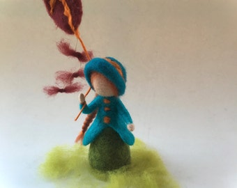 Girl with dragon,Autumn,Doll.Hand-felted.Wet  felted. Waldorf